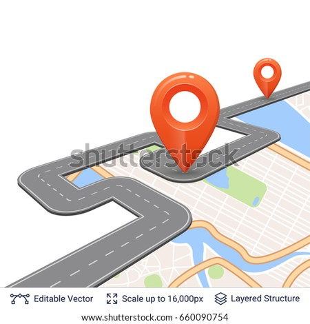 Road with location pins. Map street plan backdrop and navigation elements.