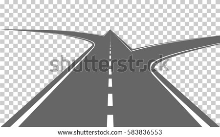 Road with white markings. Vector illustration