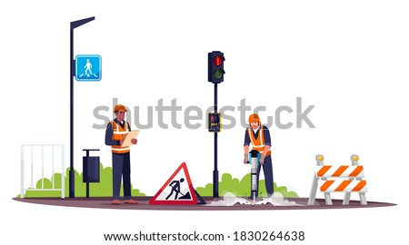 Road workers semi flat RGB color vector illustration. Workman drilling concrete with pneumatic hammer. Male road construction worker and foreman isolated cartoon character on white background Photo stock ©
