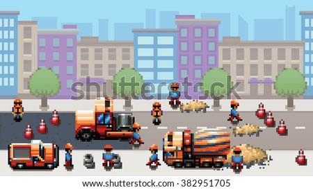 road works   pixel art urban