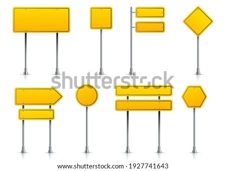 Road yellow sign. Realistic highway signage on pole. 3D metal roadside pointers. Isolated types of blank signposts. Street guideposts set for regulation of traffic. Vector signboards with copy space Stock photo ©