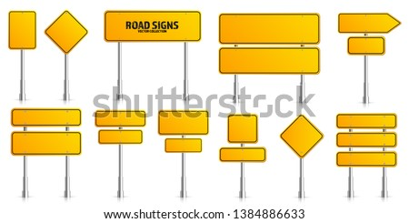 Road yellow traffic signs set. Blank board with place for text. Mockup. Isolated information sign. Direction. Vector illustration #1384886633
