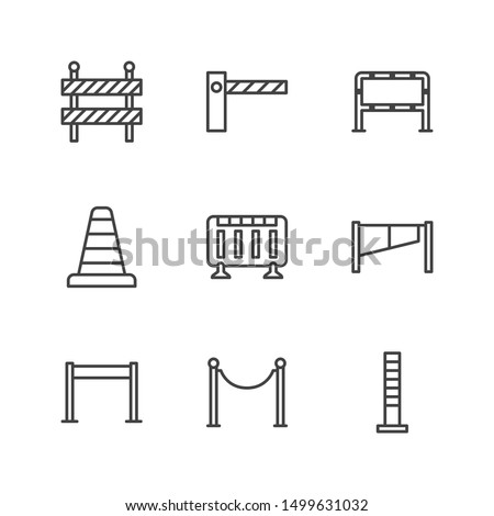 Roadblock flat line icons set. Barrier, crowd control barricades, rope stanchion vector illustrations. Outline signs for pedastrian safety, roadwork. Pixel perfect. Editable Strokes. Сток-фото ©