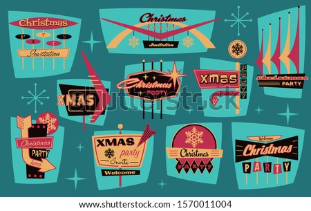Roadside Signboards Style Christmas Party Emblems, Labels, Logos Stickers, Mid Century Modern Shapes and Colors