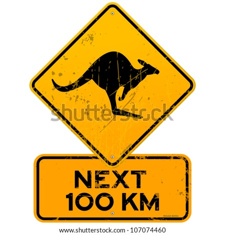 roadsign kangaroos next 100 km  ...