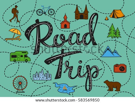 Roadtrip poster with stylized map with point of interest sightseeing for travelers like city, old castle, monastery, fan fair, beach, sea, forest, mountain, zoo, camping place, biking, hiking routes