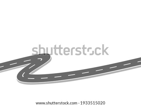 Roadway journey to the future. Asphalt street isolated on white background. Symbols Way to the goal of the end point. Path mean successful business planning Suitable for advertising and presentstation Сток-фото ©