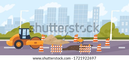 Roadworks in the city. Steamroller in front of a pit surrounded by traffic cones. Urban road construction, repair. Compactor asphalting a highway. Vector illustration in flat cartoon style Foto stock ©