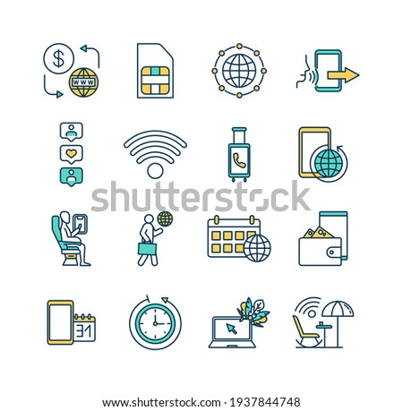 Roaming RGB color icons set. Prepaid internet access. Sim card. Incoming call. Web browsing. Traveling abroad. Social media. Money transfer. Internet connectivity. Isolated vector illustrations Photo stock ©