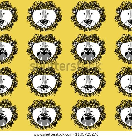 roar lion and cute lion pattern