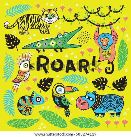 roar vector tropical print