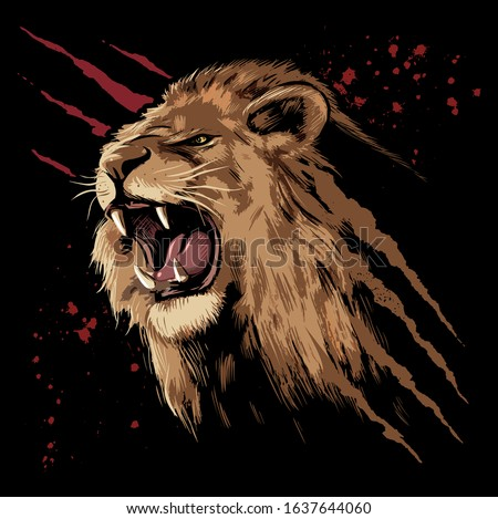 Roaring lion face with the claws scratches and blood stains on background.