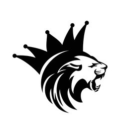 roaring lion head with stylized mane and royal crown - king animal black and white vector outline design
