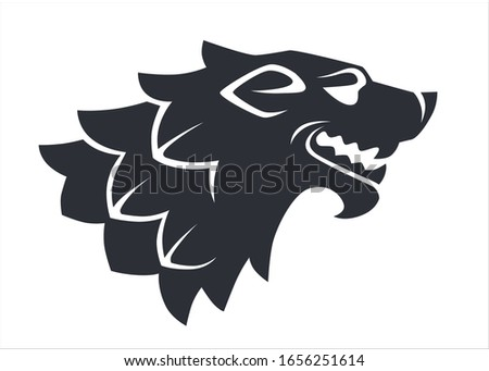 Roaring or howling wolf head silhouette, isolated icon. Aggressive mammal or wild beast, logotype or heraldry logo. Canine animal or werewolf character tattoo or sticker , vector in flat style