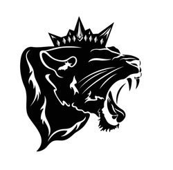 roaring  panther wearing royal crown - furious lioness black and white vector head portrait