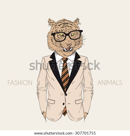 roaring tiger dressed up in