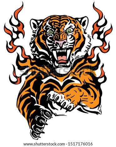 roaring tiger in tongues of
