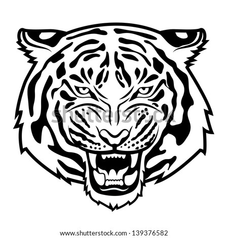 Roaring tiger's head isolated on white Black and white vector illustration