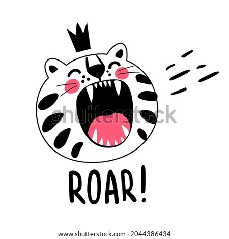 roaring white striped cat with