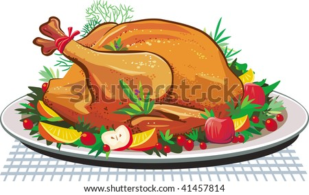Roast turkey on the plate