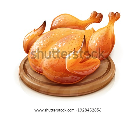 Roasted chicken. Chick meat prepared at grill. Satisfying food, Isolated on white background. Eps10 vector illustration. Stock fotó ©