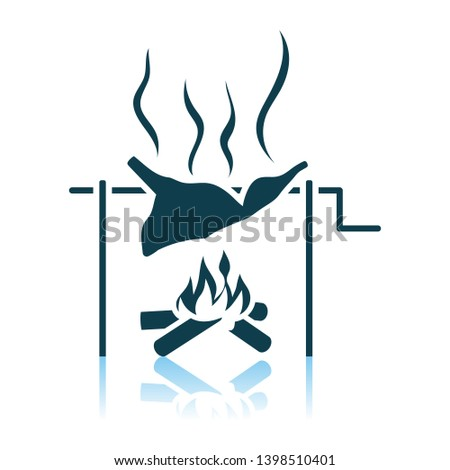 Roasting Meat On Fire Icon. Shadow Reflection Design. Vector Illustration.