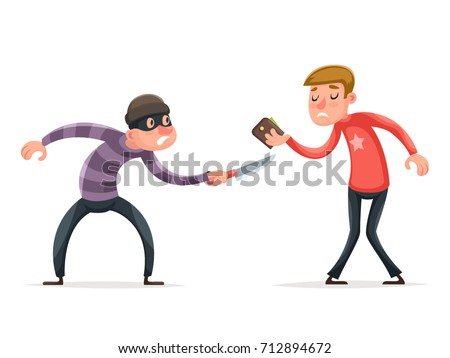 Robber Burglar Thief Robbery Steal Purse from Scared Helpless Guy Character Isolated Icon Cartoon Design Template Vector Illustration Stockfoto ©