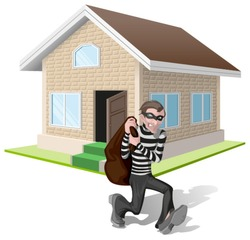 Robber in mask carries bag. Thief robs house. Property insurance. Illustration in vector format