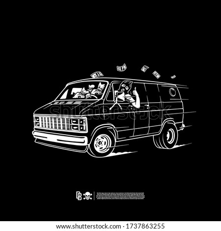 Robber rides in a van. Design for printing on t-shirts, stickers and more. Vector. Сток-фото ©