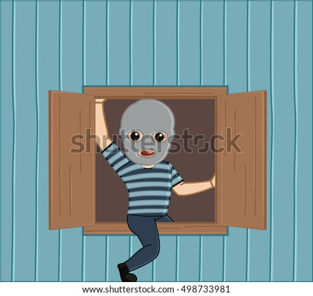 robber stepping out from house
