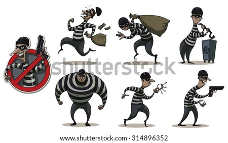 Robbers in Mask  color set, vector