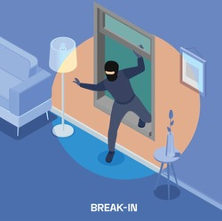 Robbery isometric composition with thief breaking into house through window 3d vector illustration