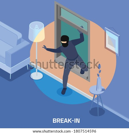 Robbery isometric composition with thief breaking into house through window 3d vector illustration Foto stock ©