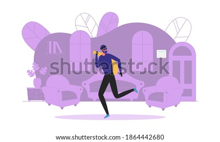 Robbery Scene with Thief or Robber Cartoon Character Stealing Precious Things on Room Interior Background. Private and Business Property Protection and Security. Flat Vector Illustration Isolated. ストックフォト ©