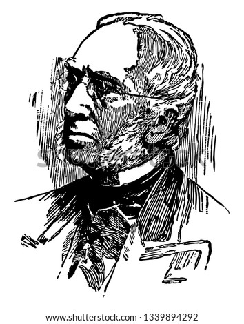 Robert Charles Winthrop 1809 to 1894 he was an American lawyer philanthropist and United States senator from Massachusetts vintage line drawing or engraving illustration