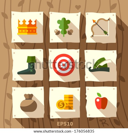 robin hood set of icons  with
