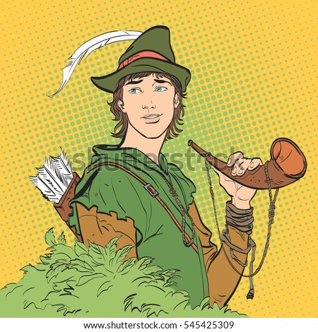 robin hood with a horn young
