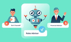 Robo advisor's advantages over doing financial transactions by yourself and financial adviser's help. Colorful vector illustration for web and printing on light green background.