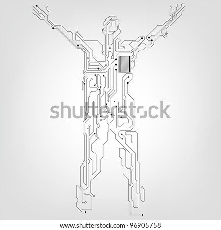 robot, a man of the future - stock vector
