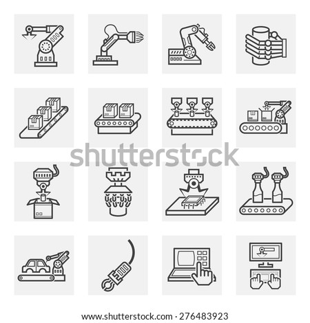 robot and conveyor belt icons