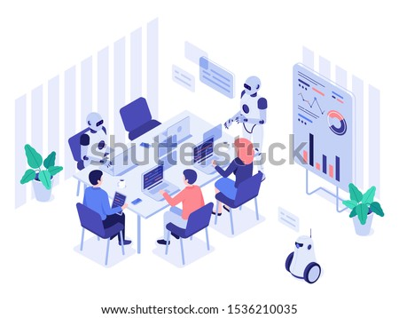Robot and human office workers. Robotic worker, humans and robots work together in futuristic workplace. Ai programmer or cyborg illustrator working with people isometric vector illustration