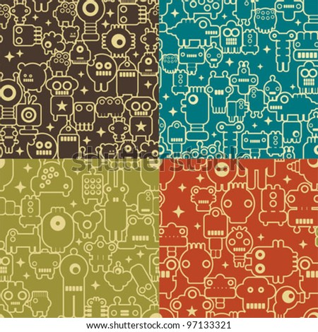 Robot and monsters  four different seamless patterns. Vector colorful textures and backgrounds.