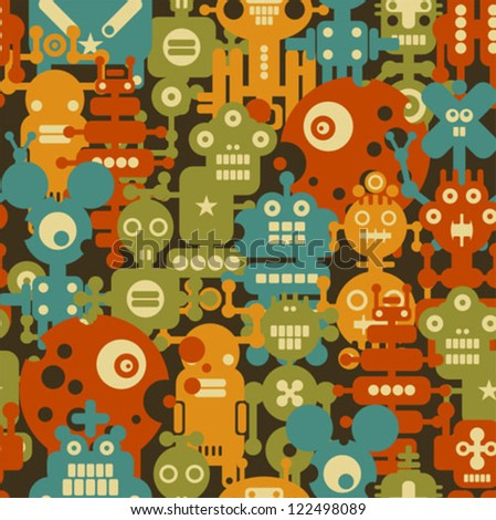 Robot and monsters modern seamless pattern in retro style. Vector background with nanobots.