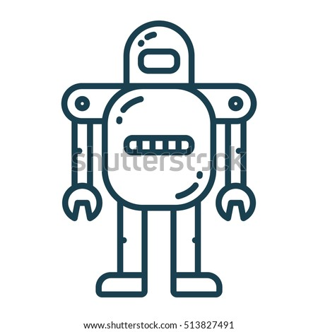 robot android flat line icon