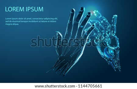 robot arm and hand human  touch