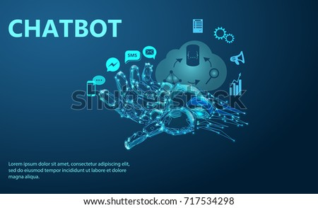 Robot arm. Chat Bot Free Robot Virtual Assistance Of Website Or Mobile Applications, Artificial Intelligence Concept. Low poly vector illustration of a starry sky or Comos.