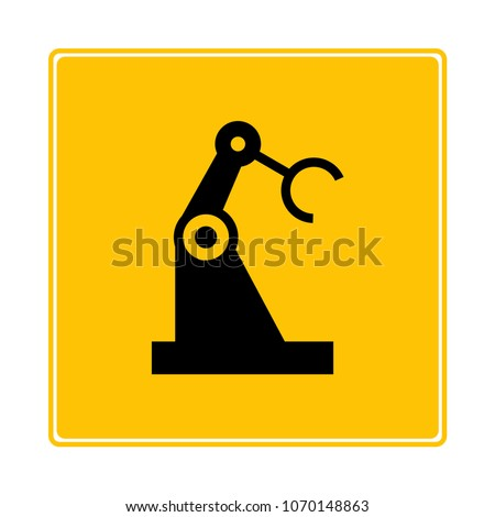 robot arm in manufacturing process icon
