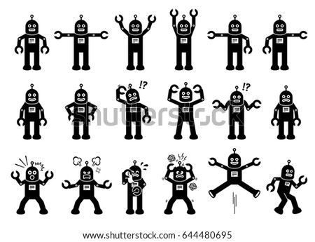 Robot Cartoon Characters in Various Poses, Actions, and Emotions. Cliparts depict the robot standing, moving, smiling, sad, crying, angry, and some other feelings.