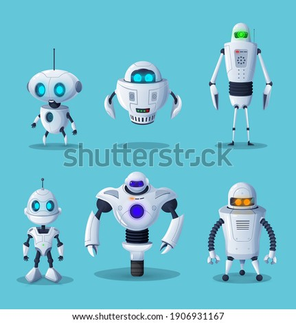 Robot cartoon characters of vector ai future technology and science design. Artificial intelligence machines, cyborgs, humanoid robots with white metal body parts, buttons and cute faces Сток-фото ©
