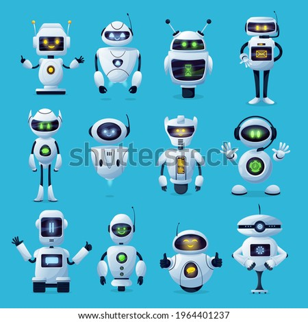 Robot cartoon characters with vector ai or artificial intelligence robotic machines. Modern white robots, toys, humanoid androids and chatbots with cute face screens, antennas and manipulators